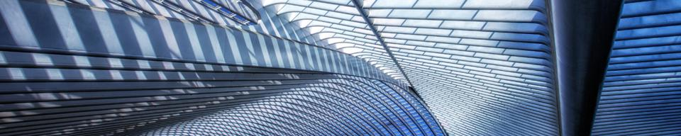 Inside view of roof of railroad station