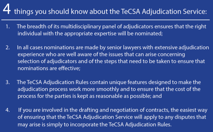 Graphic of four things you should know about the TeCSA Adjudication Service